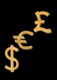 Golden dollar, euro and pound sterling symbol. Isolated on a black background stock images