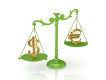 Golden dollar and euro signs on a green scales. Golden dollar and euro signs on s green scales. on white background.3d rendered Stock Image