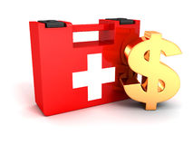 Golden dollar and first aid kit. Finance money help concept with golden dollar symbol and red first aid medical kit box on white background Stock Photos
