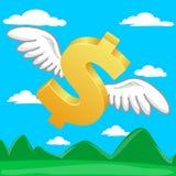 Golden dollar flying. In blue sky royalty free illustration