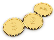 Golden dollar gears on white. Background. High resolution 3D image rendered with soft shadows Stock Photography