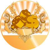 Golden Dollar Icon Royalty Free Stock Photo