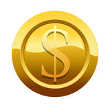 Golden dollar icon symbol (Path preserved) Stock Image