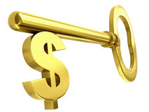 Golden dollar key royalty free illustration