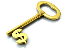 Golden dollar key Royalty Free Stock Photo