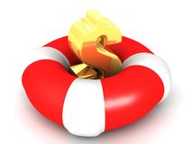 Free Golden Dollar On Life Buoy Royalty Free Stock Photography - 26853187