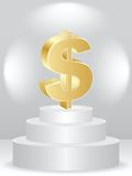 Golden dollar on podium Royalty Free Stock Photos