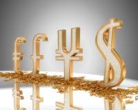 Golden Dollar, pound, euro and yen signs vector illustration