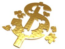 Golden dollar puzzle Royalty Free Stock Image