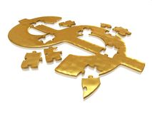 Golden dollar puzzle. With small reflections stock photo