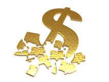 Golden dollar puzzle. With small reflections royalty free stock images