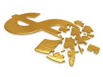 Golden dollar puzzle. With small reflections stock image