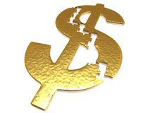 Golden dollar puzzle. With small reflections royalty free stock image