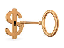 Golden dollar sign and antique key. Royalty Free Stock Photo