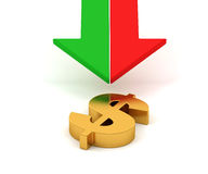 Golden dollar sign and arrows Royalty Free Stock Image
