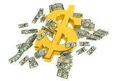 Golden Dollar Sign. And cash. Rendered with Blender 3D royalty free illustration