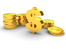 Golden dollar sign with coin towers Stock Photography
