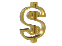 Golden dollar sign. 3D render illustration of a golden dollar sign. The composition is isolated on a white background with no shadows Royalty Free Stock Photo