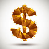 Golden dollar sign geometric icon made in 3d modern style, best Royalty Free Stock Photos
