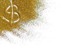 Golden dollar sign of glitter sparkle on white background Stock Photos