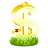 Golden Dollar Sign In Grass. Vector Royalty Free Stock Photo
