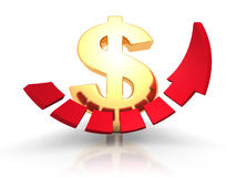 Golden dollar sign with growing up arrow. Business success conce Stock Photo