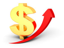 Golden dollar sign with growing up red arrow. 3d render illustration Royalty Free Stock Images