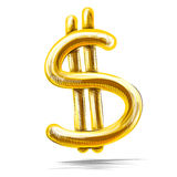Golden dollar sign isolated on white Royalty Free Stock Photo