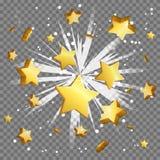 Golden dollar sign light beam lens flare explosion. Flying cash money, blindening explosion burst with sparkles. Achievement winner bonus illustration Royalty Free Stock Photos