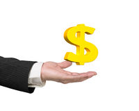 Golden dollar sign in man's hand Stock Photography