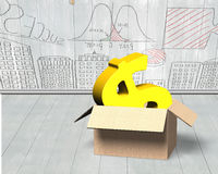 Golden dollar sign in opened cardboard box Royalty Free Stock Photography