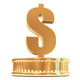 Golden Dollar Sign on a Podium Royalty Free Stock Images