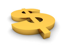 Golden dollar sign render Stock Images