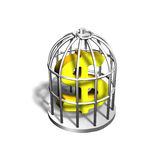 Golden dollar sign in the silver cage, 3D illustration Royalty Free Stock Photography