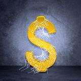 Golden dollar sign in spider web Stock Image