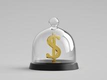 Golden dollar sign under glass bell jar Royalty Free Stock Images