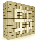 Golden dollar sign wall. Formed by cubes 3d illustration Royalty Free Stock Image