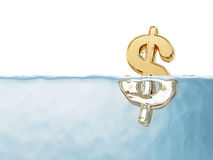 Golden Dollar Sign in Water Stock Photography