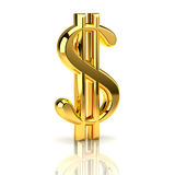 Golden dollar sign on white. The dollar sign, built in three-dimensional program and presented as a golden object vector illustration