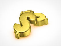 Golden dollar sign. On white background Royalty Free Stock Image