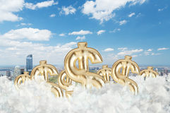 Golden dollar signs are flying in the clouds over the Central Park. In New York royalty free stock photo