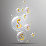 Golden Dollar Signs. Illustration of Shiny Bubbles and Golden Dollar Signs in it Royalty Free Stock Images