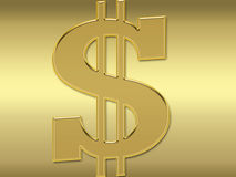 Golden Dollar symbol Royalty Free Stock Photography