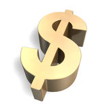 Golden Dollar Symbol 3D Stock Photos
