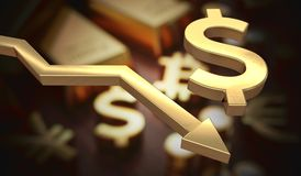 Golden dollar symbol and arrow down. 3D rendered illustration Royalty Free Stock Photo