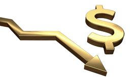 Golden dollar symbol and arrow down. Isolated on white background. 3D rendered illustration Stock Image