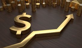 Golden dollar symbol and arrow up. 3D rendered illustration.  Stock Images