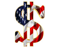 Golden dollar symbol with a flag of the country on a white background. 3d illustration. Golden dollar symbol with a flag of the country on a white background Royalty Free Stock Images