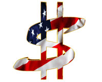 Golden dollar symbol with a flag of the country on a white background. 3d illustration. Golden dollar symbol with a flag of the country on a white background Royalty Free Stock Photo