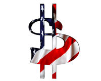 Golden dollar symbol with a flag of the country on a white background. 3d illustration. Golden dollar symbol with a flag of the country on a white background Royalty Free Stock Photos